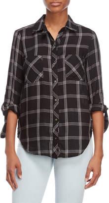 William Rast Jet Black & Day Dream Carina Plaid Shirt