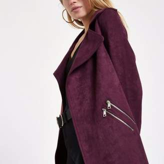 River Island Dark red faux suede longline trench jacket