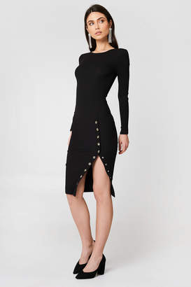 Rebecca Stella Ribbed Buttoned Slit Dress
