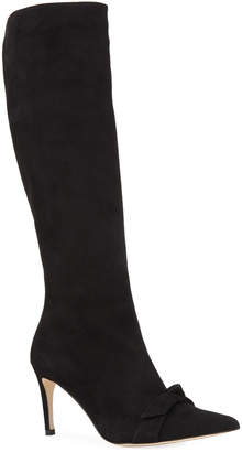 Alexandre Birman Lydia Bow Suede Knee Boots