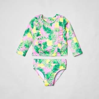 River Island Mini girls pink tropical frill tankini