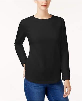 Karen Scott Solid Fleece Crew-Neck Sweatshirt