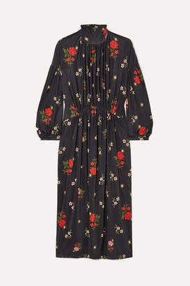 Simone Rocha Gathered Floral-print Satin-jersey Midi Dress - Black
