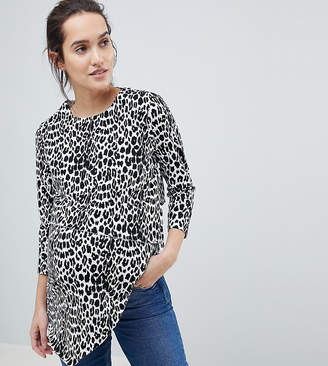 Asos Nursing DESIGN Maternity Nursing Asymmetric Top With Double Layer In Mono Animal Print