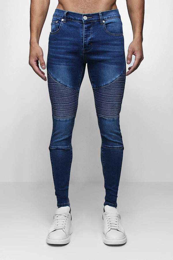 Skinny Fit Biker Jeans with Side Zip