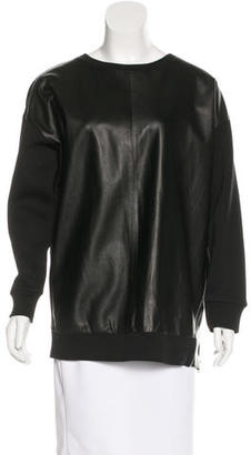 AllSaints Leather-Accented Long Sleeve Sweatshirt w/ Tags $175 thestylecure.com