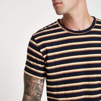 Bellfield Mens navy stripe T-shirt