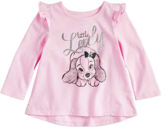 "Osh Kosh Disneyjumping Beans Disney's Lady and the Tramp Baby Girl ""Little Lady"" Glittery Graphic Tee by Jumping Beans"
