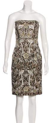 Sue Wong Strapless Sequin Lace Mini Dress