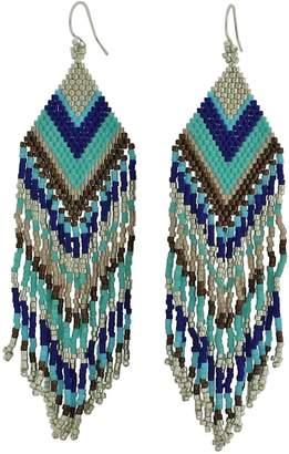 LeJu London Beaded Chandelier Earrings In Tones Of Blue