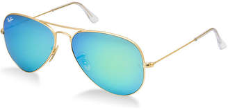 Ray-Ban Sunglasses - Rb3025 Aviator Large Metal /Frame: Matte Gold Lens: Crystal Green Mirror (58Mm)