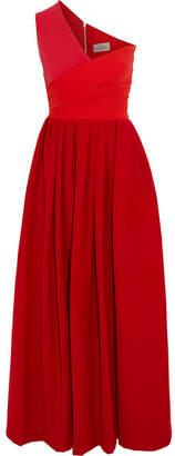 Preen by Thornton Bregazzi - April One-shoulder Cady Midi Dress - Tomato red $1,350 thestylecure.com