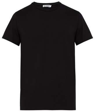Jil Sander Crew Neck Cotton Blend T Shirt - Mens - Black
