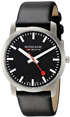 Mondaine Official Swiss Railways Watch Simply Elegant Men's Watch, Black Dial with Black Leather Strap