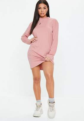 Missguided Pink Long Sleeve T-Shirt Dress