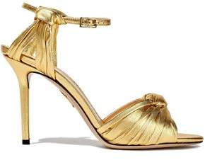 Charlotte Olympia Knotted Metallic Leather Sandals