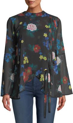 Anna Cai Floral Bell-Sleeve Tie-Front Blouse