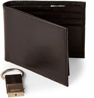 Calvin Klein Black Leather Pebbled Wallet & Key Fob Set