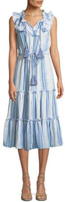 MISA Los Angeles Aleja Striped Ruffle Tassel Midi Dress