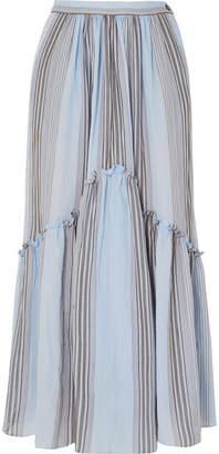 Leila Three Graces London Striped Cotton-gauze Midi Skirt - Light blue