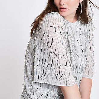 River Island Plus silver sequin embellished top