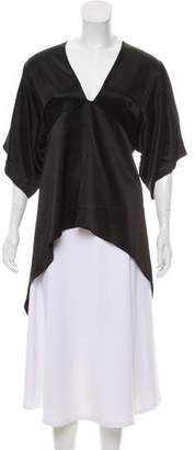 Halston Short Sleeve Satin Blouse