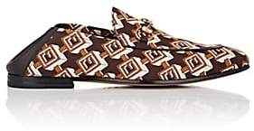 Gucci Men's Isometric Logo-Print Satin Loafers - Brown