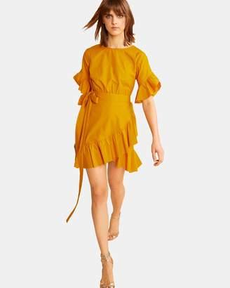 Cynthia Rowley Saffron Wallflower Ruffle Wrap Dress
