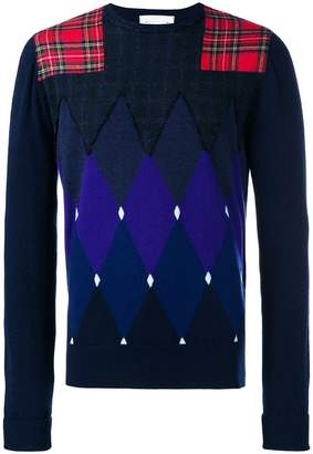 Ballantyne argyle pattern and patchwork sweatshirt