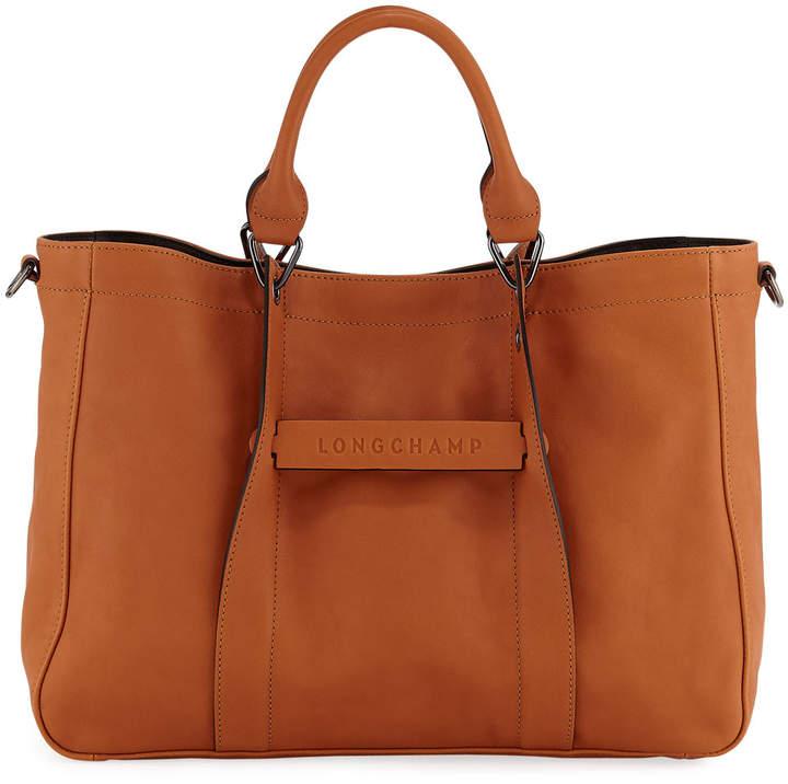 Longchamp 3D Medium Leather Tote Bag - ORANGE - STYLE