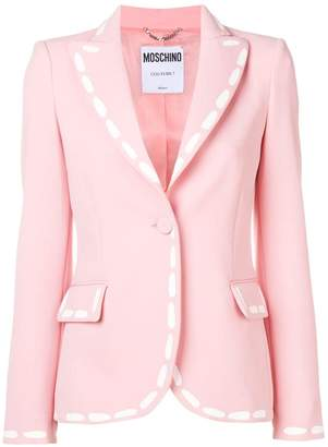 Moschino stitch print fitted blazer