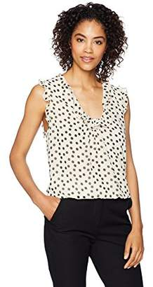Lark & Ro Women's Sleeveless Bubble Blouse with Ruffle Trim