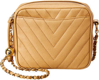 Chanel Beige Quilted Caviar Leather Chevron Camera Bag