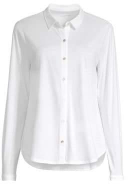 Eileen Fisher Women's Organic Cotton Button-Down Shirt - White - Size XS