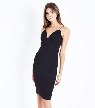 New Look Black Crepe Strappy Bodycon Midi Dress
