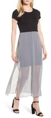Vince Camuto Stripe Chiffon Overlay Maxi Dress