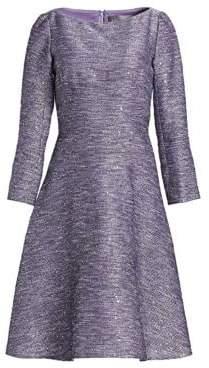 Lela Rose Sequin Embroidered Tweed Dress