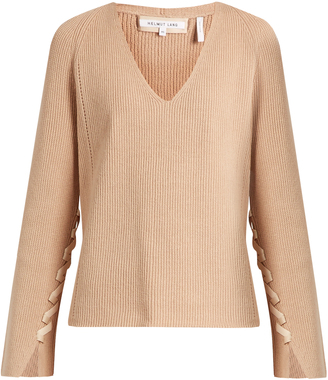 HELMUT LANG Lace-sleeve V-neck wool and cashmere-blend sweater $395 thestylecure.com