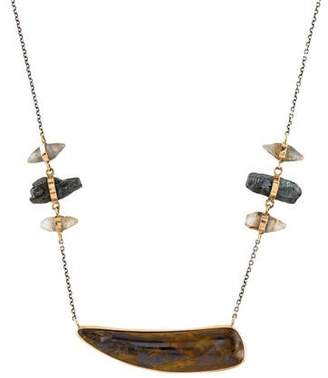 Melissa Joy Manning Tiger Iron, Hematite and Sapphire Necklace