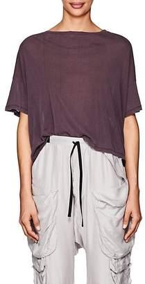 Taverniti So Ben Unravel Project Women's Distressed Silk Crop T-Shirt
