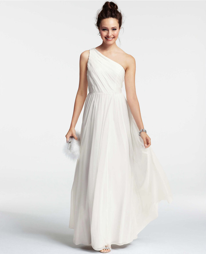 Ann Taylor Silk Georgette Pleated One Shoulder Gown