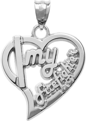 "Insignia Collection Sterling Silver ""Firefighter"" Heart Pendant"
