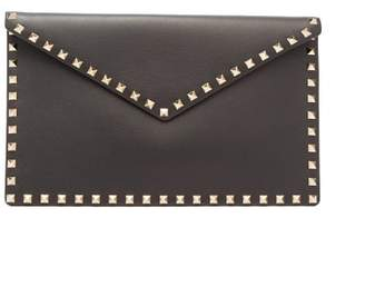 Valentino Rockstud Large Envelope Clutch - Womens - Black