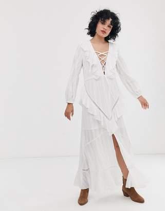 Asos Design DESIGN lace up casual maxi dress