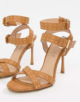 Office Hardcore studded camel strappy heeled sandals