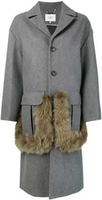 Maison Père button fox fur detail coat