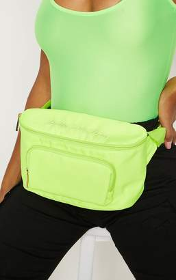 PrettyLittleThing Neon Lime Embroidered Bum Bag
