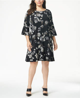 Connected Plus Size Printed Bell-Sleeve Shift Dress