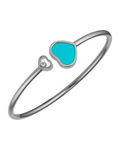 Chopard Chopard Happy Hearts 18k White Gold Turquoise & Diamond Bangle Bracelet
