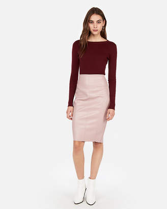 Express Petite High Waisted Seamed (Minus The) Leather Pencil Skirt